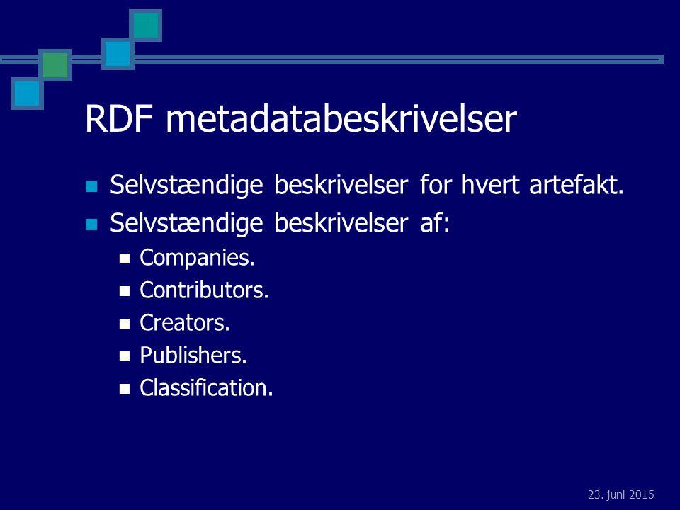 23. juni 2015 RDF metadatabeskrivelser Selvstændige beskrivelser for hvert artefakt.