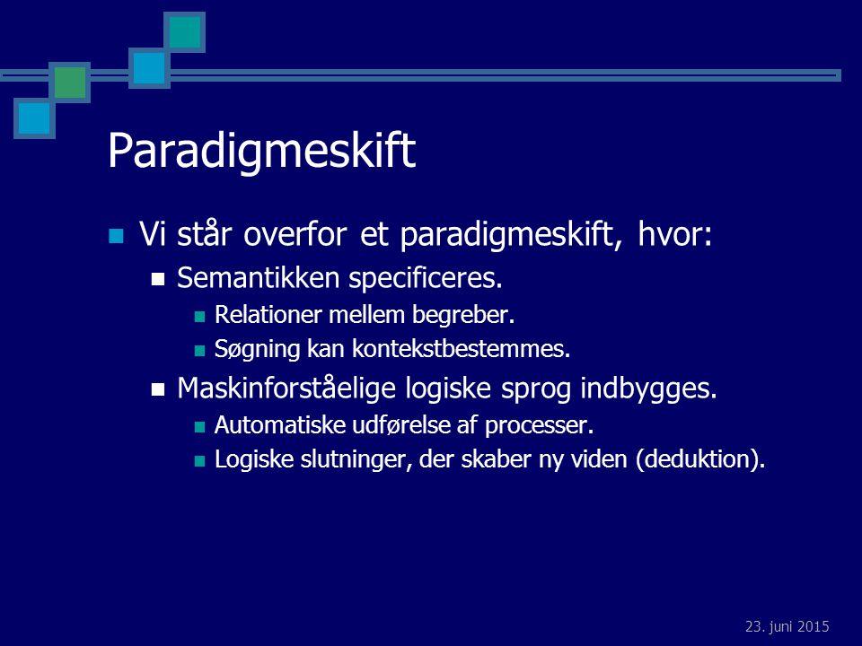 23. juni 2015 Paradigmeskift Vi står overfor et paradigmeskift, hvor: Semantikken specificeres.