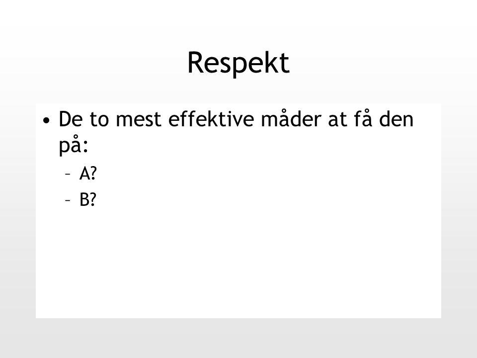 Respekt De to mest effektive måder at få den på: –A –B
