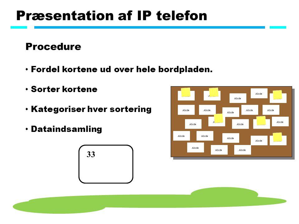Præsentation af IP telefon Procedure Fordel kortene ud over hele bordpladen.