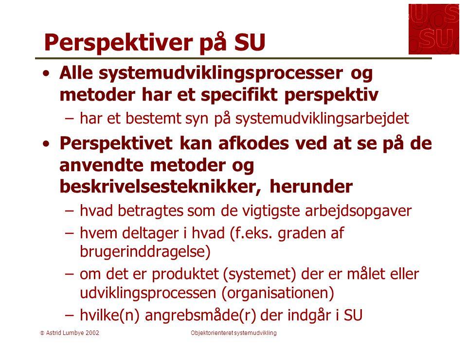  Astrid Lumbye 2002Objektorienteret systemudvikling Perspektiver på SU Alle systemudviklingsprocesser og metoder har et specifikt perspektiv –har et bestemt syn på systemudviklingsarbejdet Perspektivet kan afkodes ved at se på de anvendte metoder og beskrivelsesteknikker, herunder –hvad betragtes som de vigtigste arbejdsopgaver –hvem deltager i hvad (f.eks.