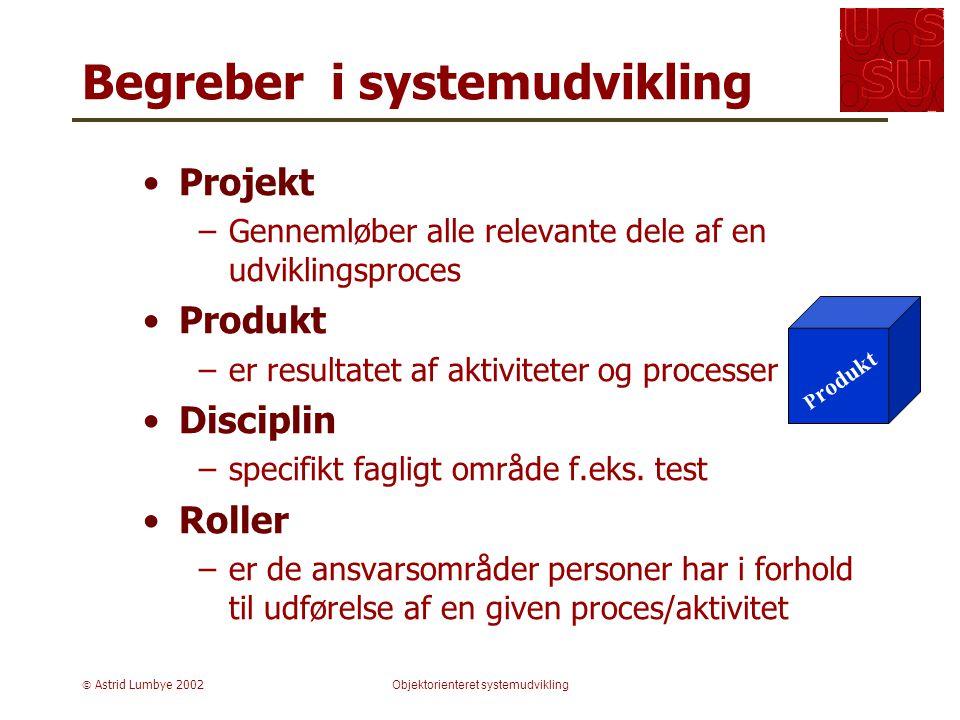 Astrid Lumbye 2002Objektorienteret systemudvikling Projekt –Gennemløber alle relevante dele af en udviklingsproces Produkt –er resultatet af aktiviteter og processer Disciplin –specifikt fagligt område f.eks.