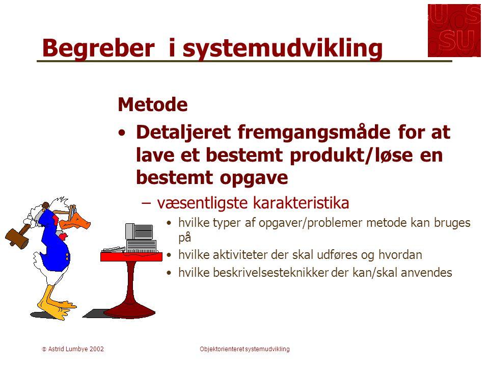  Astrid Lumbye 2002Objektorienteret systemudvikling Begreber i systemudvikling Metode Detaljeret fremgangsmåde for at lave et bestemt produkt/løse en bestemt opgave –væsentligste karakteristika hvilke typer af opgaver/problemer metode kan bruges på hvilke aktiviteter der skal udføres og hvordan hvilke beskrivelsesteknikker der kan/skal anvendes