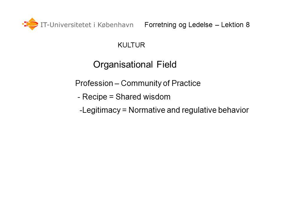 KULTUR Forretning og Ledelse – Lektion 8 Organisational Field Profession – Community of Practice - Recipe = Shared wisdom -Legitimacy = Normative and regulative behavior