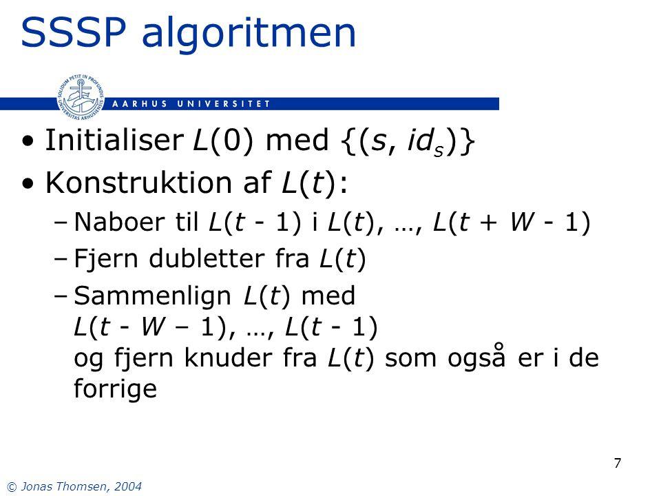 © Jonas Thomsen, 2004 7 SSSP algoritmen Initialiser L(0) med {(s, id s )} Konstruktion af L(t): –Naboer til L(t - 1) i L(t), …, L(t + W - 1) –Fjern dubletter fra L(t) –Sammenlign L(t) med L(t - W – 1), …, L(t - 1) og fjern knuder fra L(t) som også er i de forrige