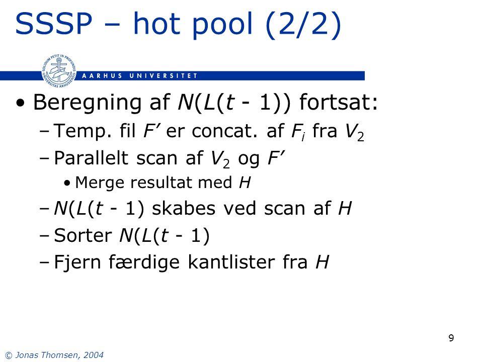 © Jonas Thomsen, 2004 9 SSSP – hot pool (2/2) Beregning af N(L(t - 1)) fortsat: –Temp.