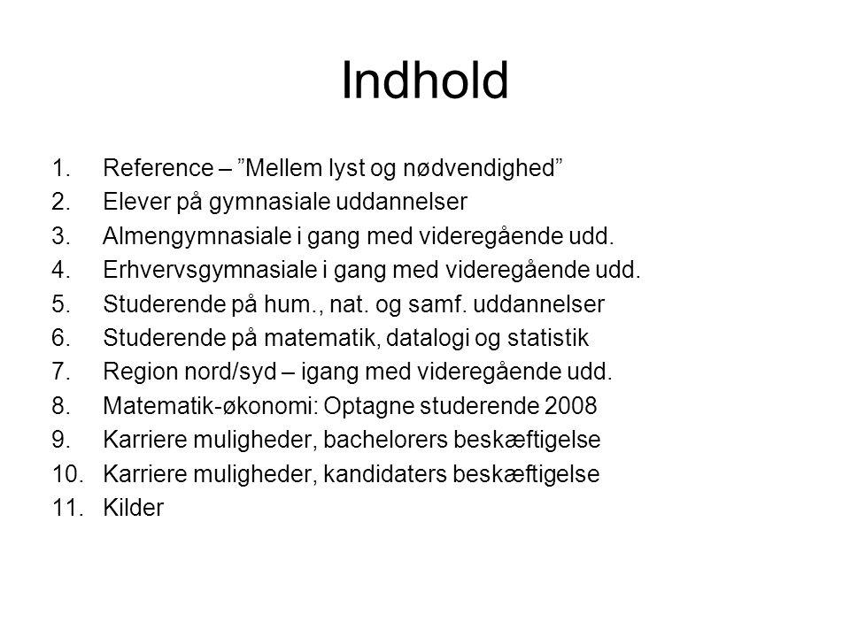 Indhold 1.Reference – Mellem lyst og nødvendighed 2.Elever på gymnasiale uddannelser 3.Almengymnasiale i gang med videregående udd.