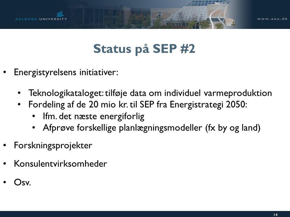 14 Status på SEP #2 Energistyrelsens initiativer: Teknologikataloget: tilføje data om individuel varmeproduktion Fordeling af de 20 mio kr.