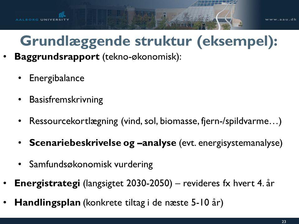 23 Grundlæggende struktur (eksempel): Baggrundsrapport (tekno-økonomisk): Energibalance Basisfremskrivning Ressourcekortlægning (vind, sol, biomasse, fjern-/spildvarme…) Scenariebeskrivelse og –analyse (evt.