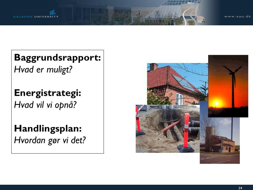 24 Baggrundsrapport: Hvad er muligt. Energistrategi: Hvad vil vi opnå.