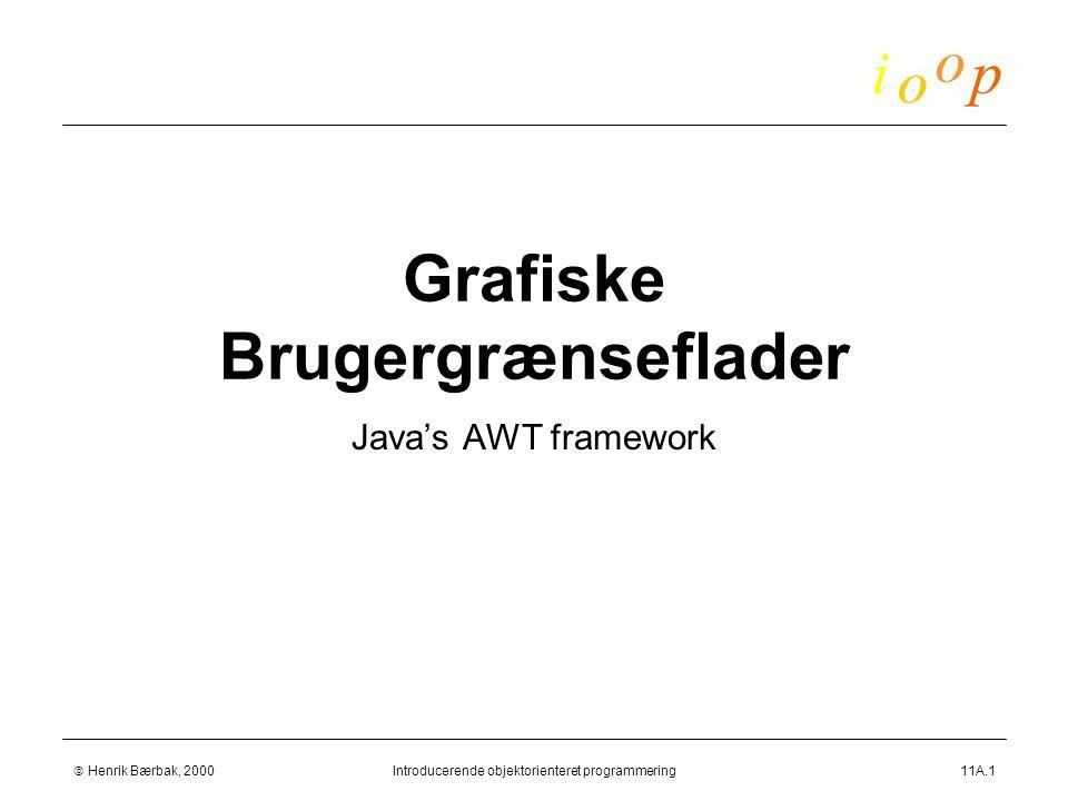  Henrik Bærbak, 2000Introducerende objektorienteret programmering11A.1 Grafiske Brugergrænseflader Java's AWT framework
