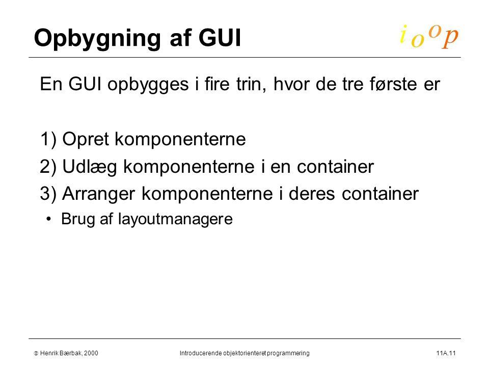  Henrik Bærbak, 2000Introducerende objektorienteret programmering11A.11 Opbygning af GUI  En GUI opbygges i fire trin, hvor de tre første er  1) Opret komponenterne  2) Udlæg komponenterne i en container  3) Arranger komponenterne i deres container Brug af layoutmanagere