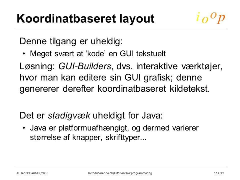  Henrik Bærbak, 2000Introducerende objektorienteret programmering11A.13 Koordinatbaseret layout  Denne tilgang er uheldig: Meget svært at 'kode' en GUI tekstuelt  Løsning: GUI-Builders, dvs.