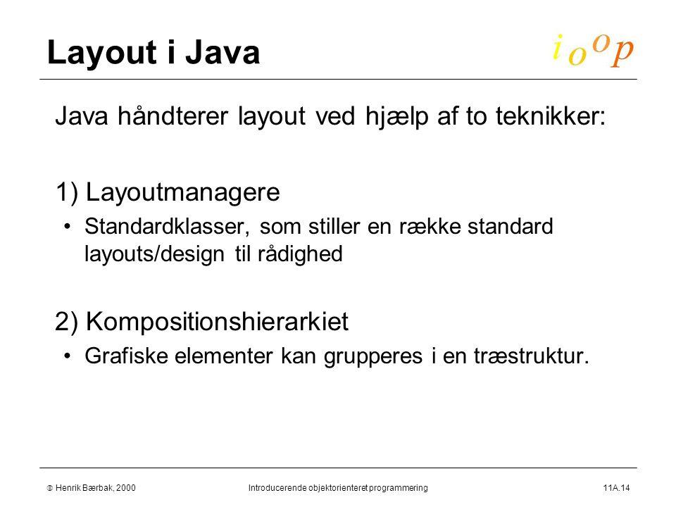  Henrik Bærbak, 2000Introducerende objektorienteret programmering11A.14 Layout i Java  Java håndterer layout ved hjælp af to teknikker:  1) Layoutmanagere Standardklasser, som stiller en række standard layouts/design til rådighed  2) Kompositionshierarkiet Grafiske elementer kan grupperes i en træstruktur.