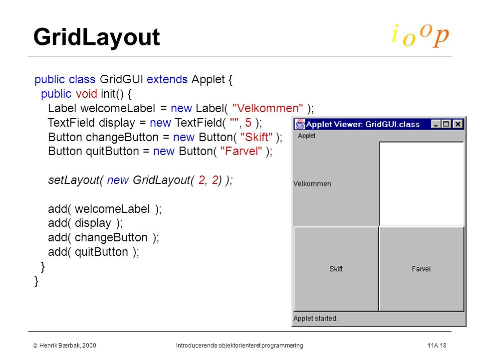  Henrik Bærbak, 2000Introducerende objektorienteret programmering11A.18 GridLayout public class GridGUI extends Applet { public void init() { Label welcomeLabel = new Label( Velkommen ); TextField display = new TextField( , 5 ); Button changeButton = new Button( Skift ); Button quitButton = new Button( Farvel ); setLayout( new GridLayout( 2, 2) ); add( welcomeLabel ); add( display ); add( changeButton ); add( quitButton ); }