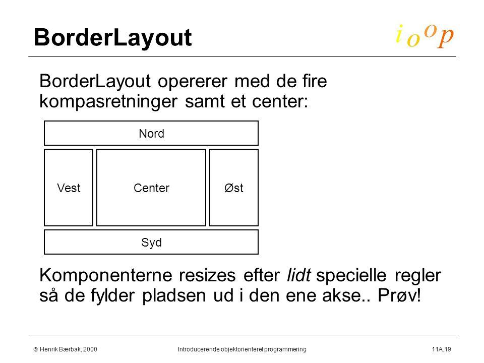  Henrik Bærbak, 2000Introducerende objektorienteret programmering11A.19 BorderLayout  BorderLayout opererer med de fire kompasretninger samt et center:  Komponenterne resizes efter lidt specielle regler så de fylder pladsen ud i den ene akse..
