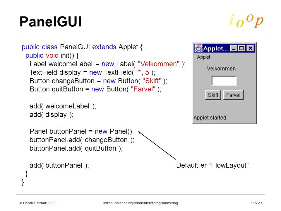  Henrik Bærbak, 2000Introducerende objektorienteret programmering11A.23 PanelGUI public class PanelGUI extends Applet { public void init() { Label welcomeLabel = new Label( Velkommen ); TextField display = new TextField( , 5 ); Button changeButton = new Button( Skift ); Button quitButton = new Button( Farvel ); add( welcomeLabel ); add( display ); Panel buttonPanel = new Panel(); buttonPanel.add( changeButton ); buttonPanel.add( quitButton ); add( buttonPanel ); } Default er FlowLayout