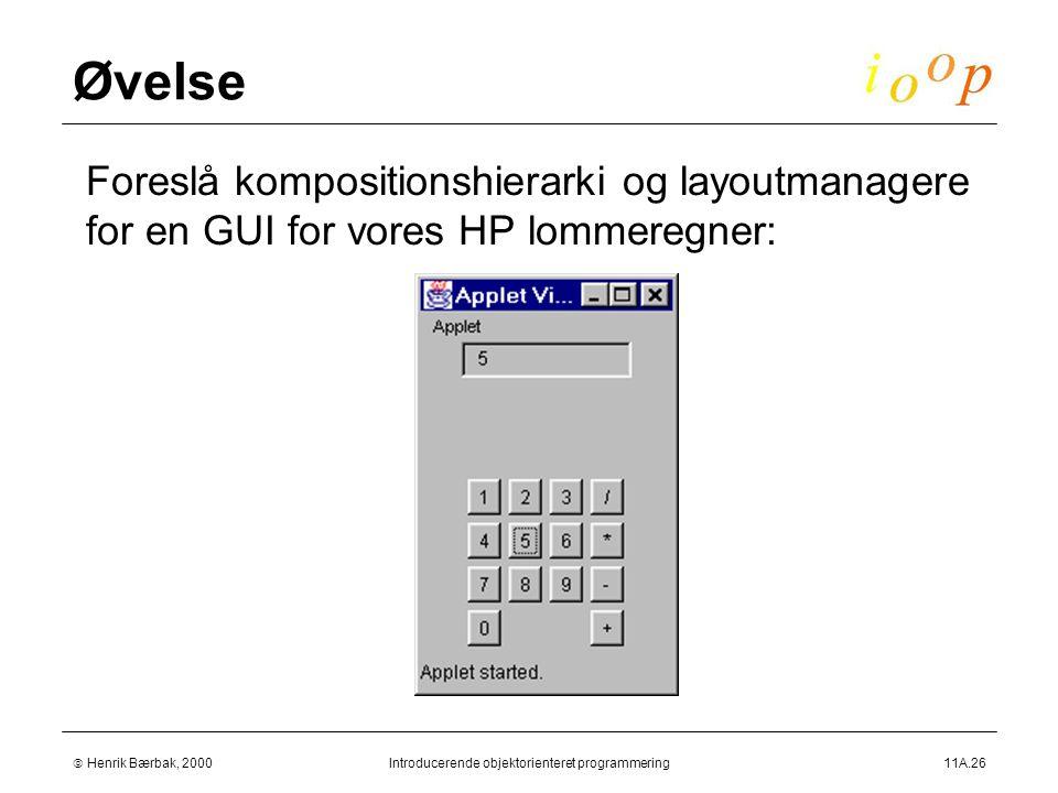  Henrik Bærbak, 2000Introducerende objektorienteret programmering11A.26 Øvelse  Foreslå kompositionshierarki og layoutmanagere for en GUI for vores HP lommeregner:
