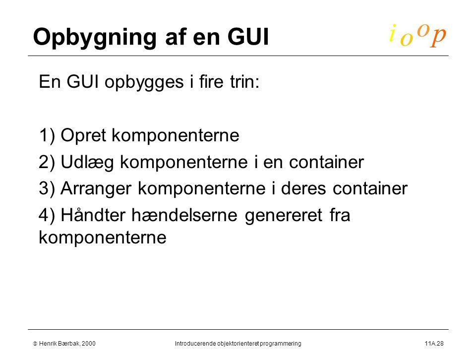  Henrik Bærbak, 2000Introducerende objektorienteret programmering11A.28 Opbygning af en GUI  En GUI opbygges i fire trin:  1) Opret komponenterne  2) Udlæg komponenterne i en container  3) Arranger komponenterne i deres container  4) Håndter hændelserne genereret fra komponenterne