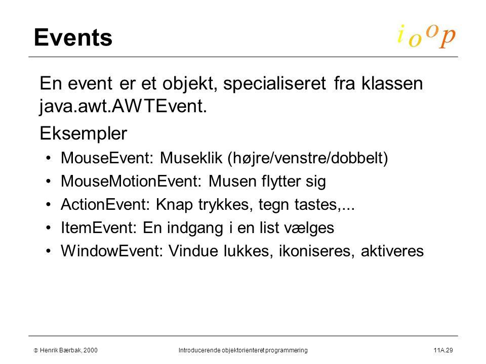  Henrik Bærbak, 2000Introducerende objektorienteret programmering11A.29 Events  En event er et objekt, specialiseret fra klassen java.awt.AWTEvent.