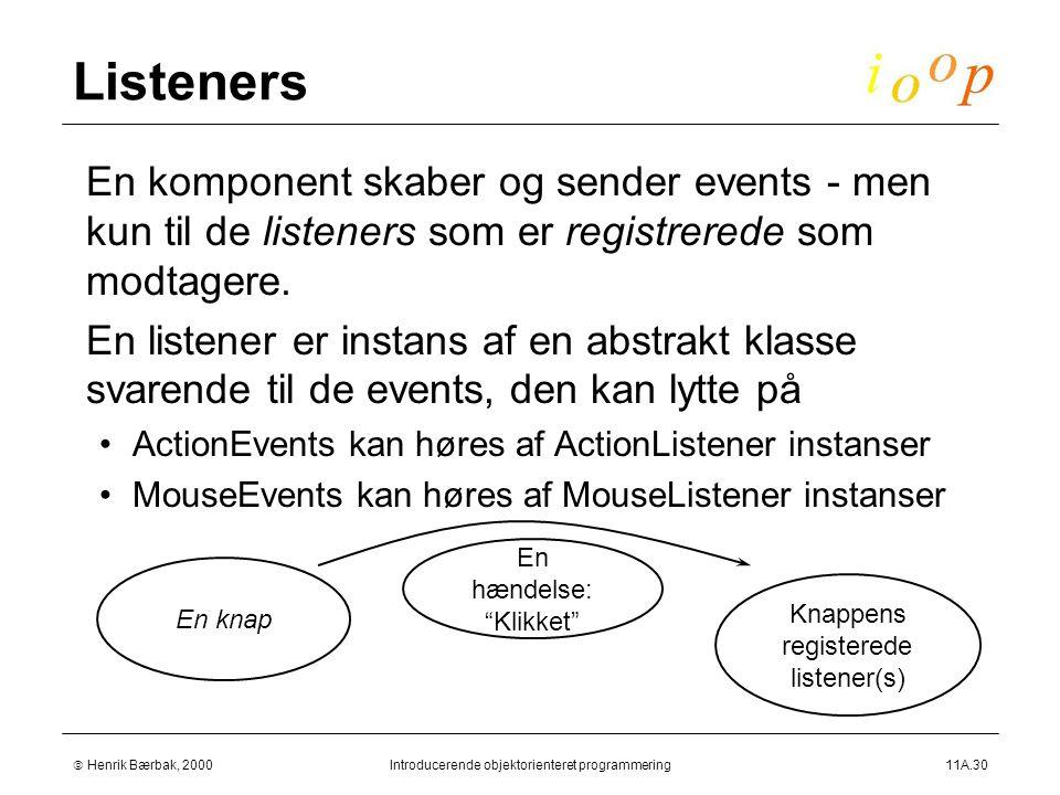  Henrik Bærbak, 2000Introducerende objektorienteret programmering11A.30 Listeners  En komponent skaber og sender events - men kun til de listeners som er registrerede som modtagere.