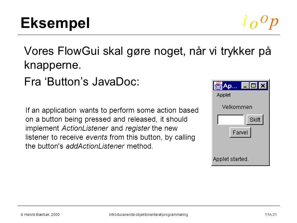  Henrik Bærbak, 2000Introducerende objektorienteret programmering11A.31 Eksempel  Vores FlowGui skal gøre noget, når vi trykker på knapperne.