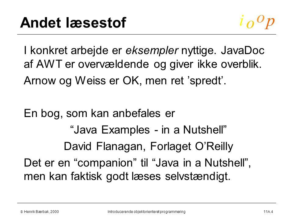  Henrik Bærbak, 2000Introducerende objektorienteret programmering11A.4 Andet læsestof  I konkret arbejde er eksempler nyttige.