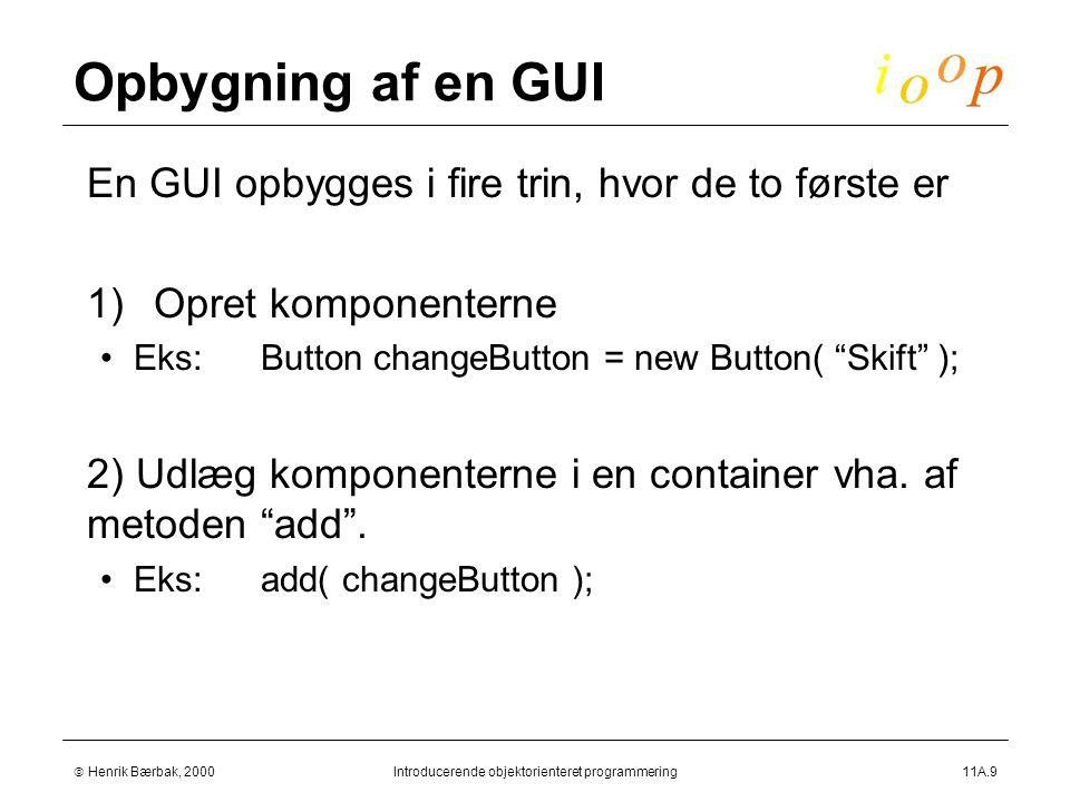 Henrik Bærbak, 2000Introducerende objektorienteret programmering11A.9 Opbygning af en GUI  En GUI opbygges i fire trin, hvor de to første er  1)Opret komponenterne Eks:Button changeButton = new Button( Skift );  2) Udlæg komponenterne i en container vha.