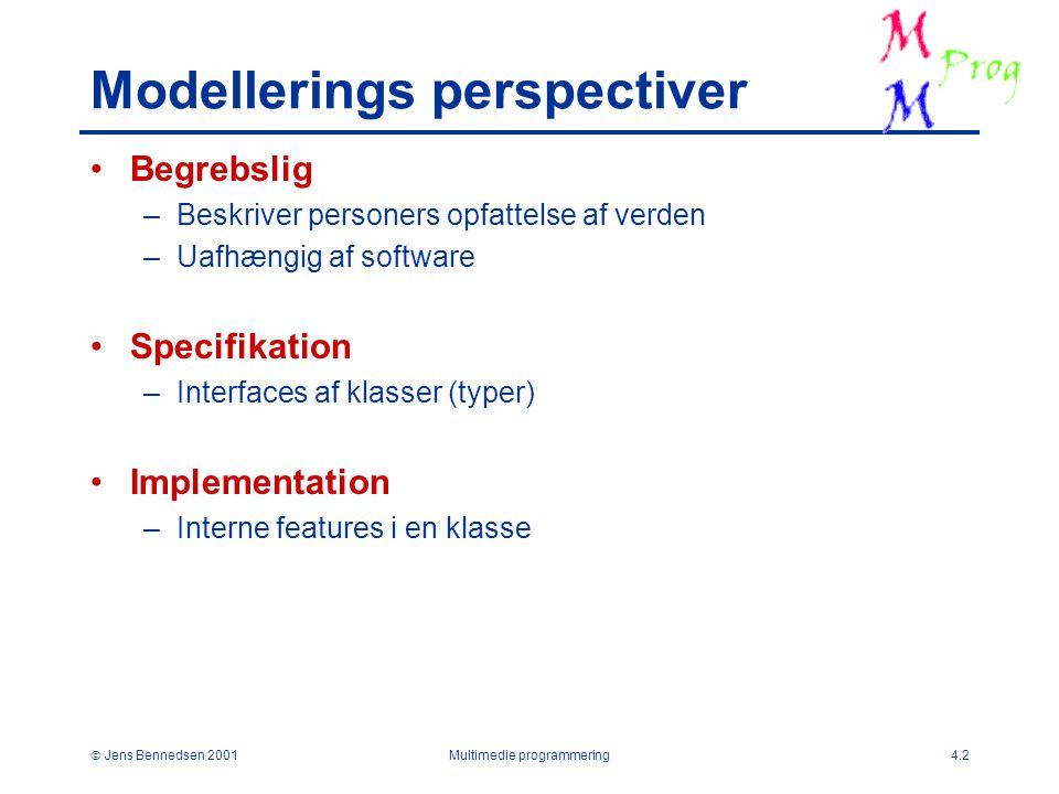  Jens Bennedsen 2001Multimedie programmering4.2 Modellerings perspectiver Begrebslig –Beskriver personers opfattelse af verden –Uafhængig af software Specifikation –Interfaces af klasser (typer) Implementation –Interne features i en klasse