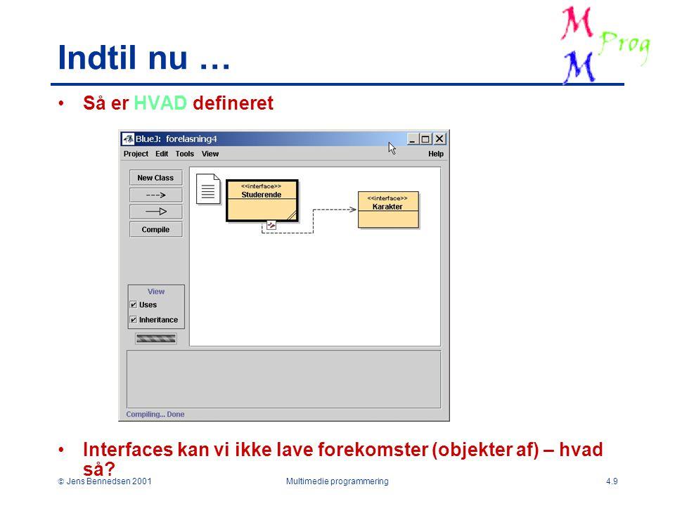  Jens Bennedsen 2001Multimedie programmering4.9 Indtil nu … Så er HVAD defineret Interfaces kan vi ikke lave forekomster (objekter af) – hvad så