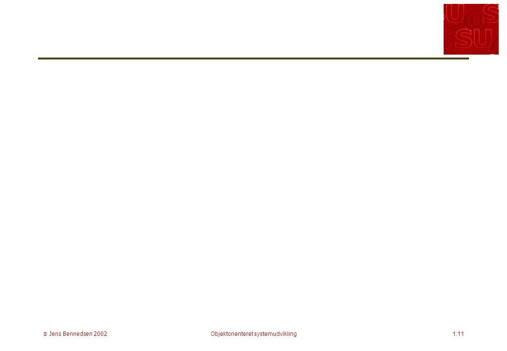  Jens Bennedsen 2002Objektorienteret systemudvikling1.11