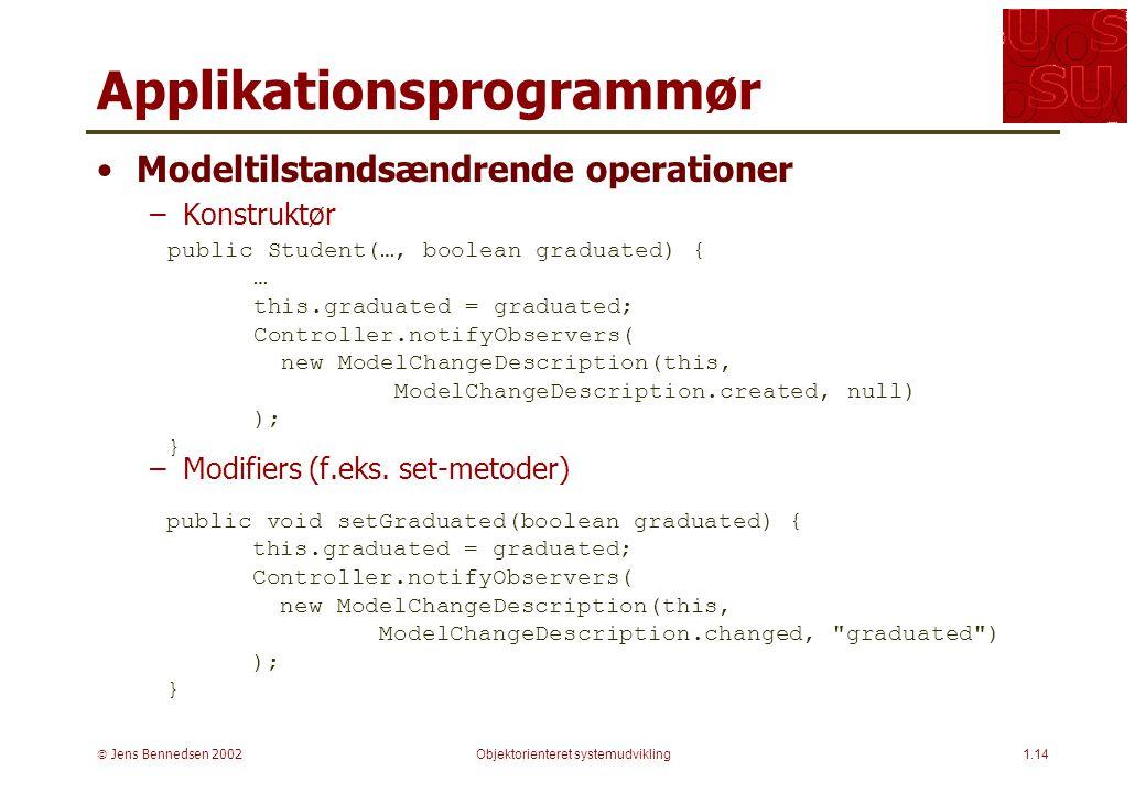  Jens Bennedsen 2002Objektorienteret systemudvikling1.14 Applikationsprogrammør Modeltilstandsændrende operationer –Konstruktør –Modifiers (f.eks.