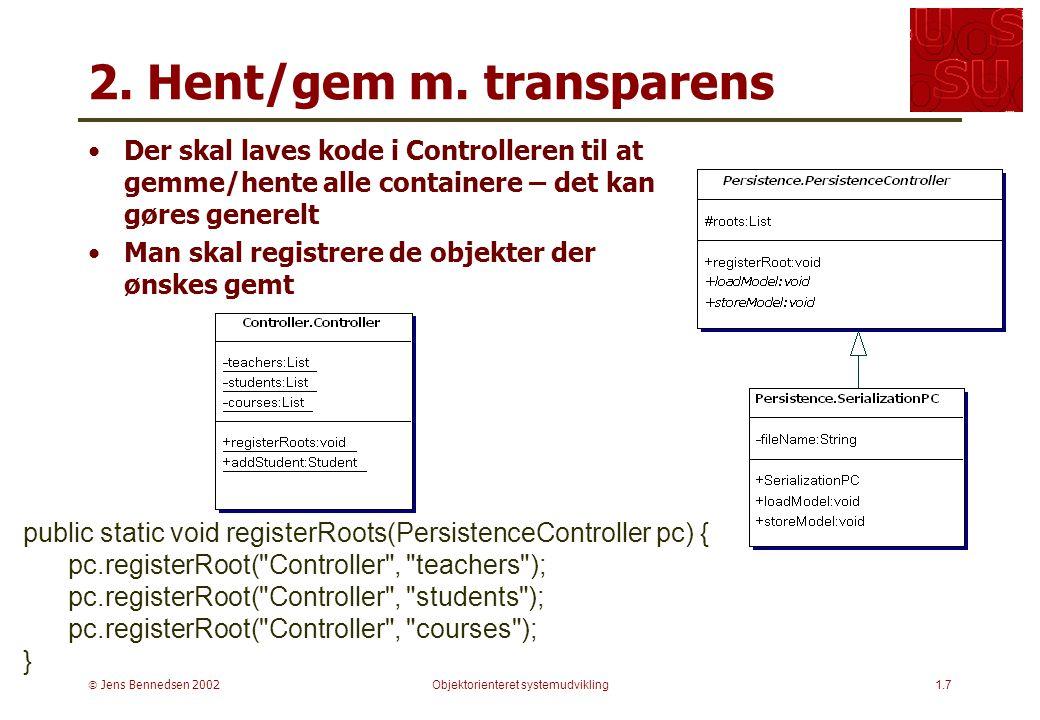  Jens Bennedsen 2002Objektorienteret systemudvikling1.7 2.