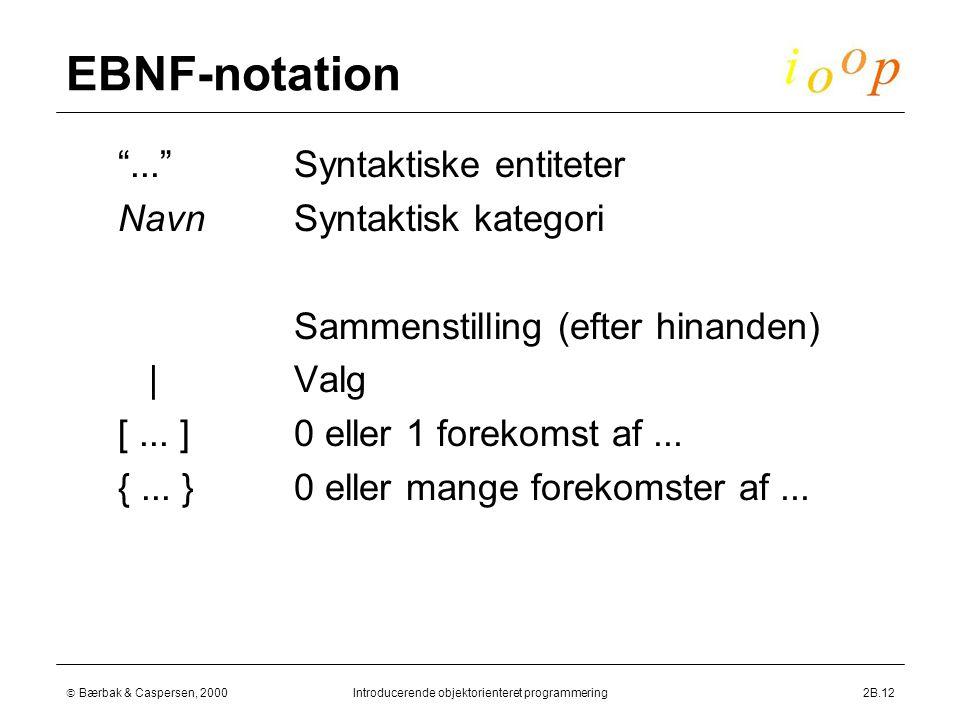  Bærbak & Caspersen, 2000Introducerende objektorienteret programmering2B.12 EBNF-notation  Syntaktiske entiteter  Syntaktisk kategori  Sammenstilling (efter hinanden)  Valg  0 eller 1 forekomst af...