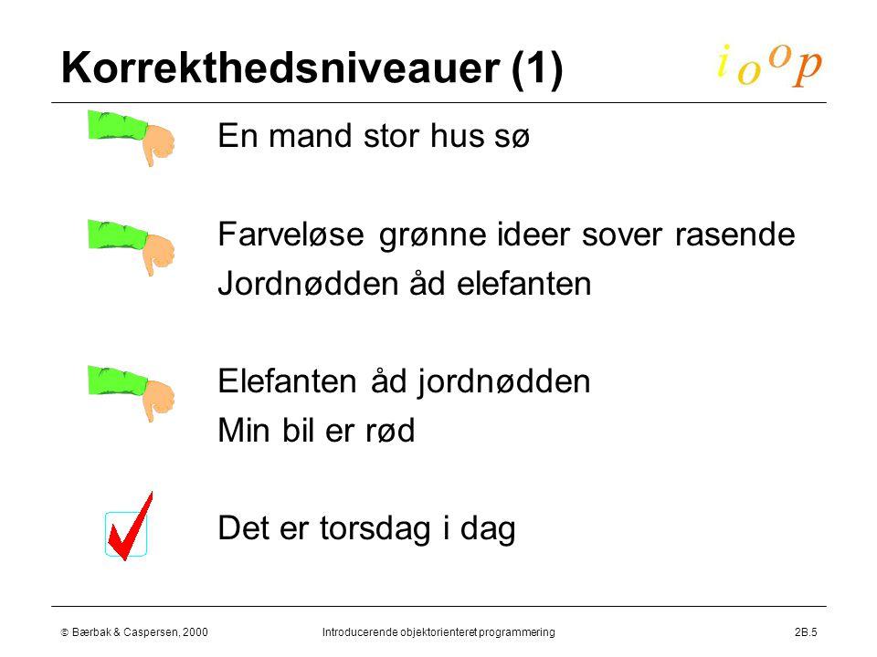  Bærbak & Caspersen, 2000Introducerende objektorienteret programmering2B.5 Korrekthedsniveauer (1)  En mand stor hus sø  Farveløse grønne ideer sover rasende  Jordnødden åd elefanten  Elefanten åd jordnødden  Min bil er rød  Det er torsdag i dag