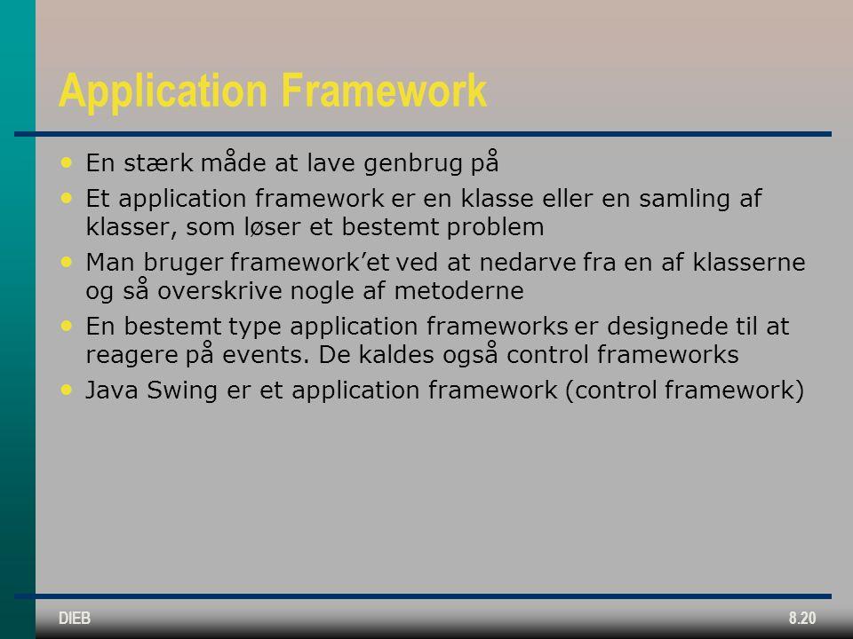 DIEB8.20 Application Framework En stærk måde at lave genbrug på Et application framework er en klasse eller en samling af klasser, som løser et bestemt problem Man bruger framework'et ved at nedarve fra en af klasserne og så overskrive nogle af metoderne En bestemt type application frameworks er designede til at reagere på events.