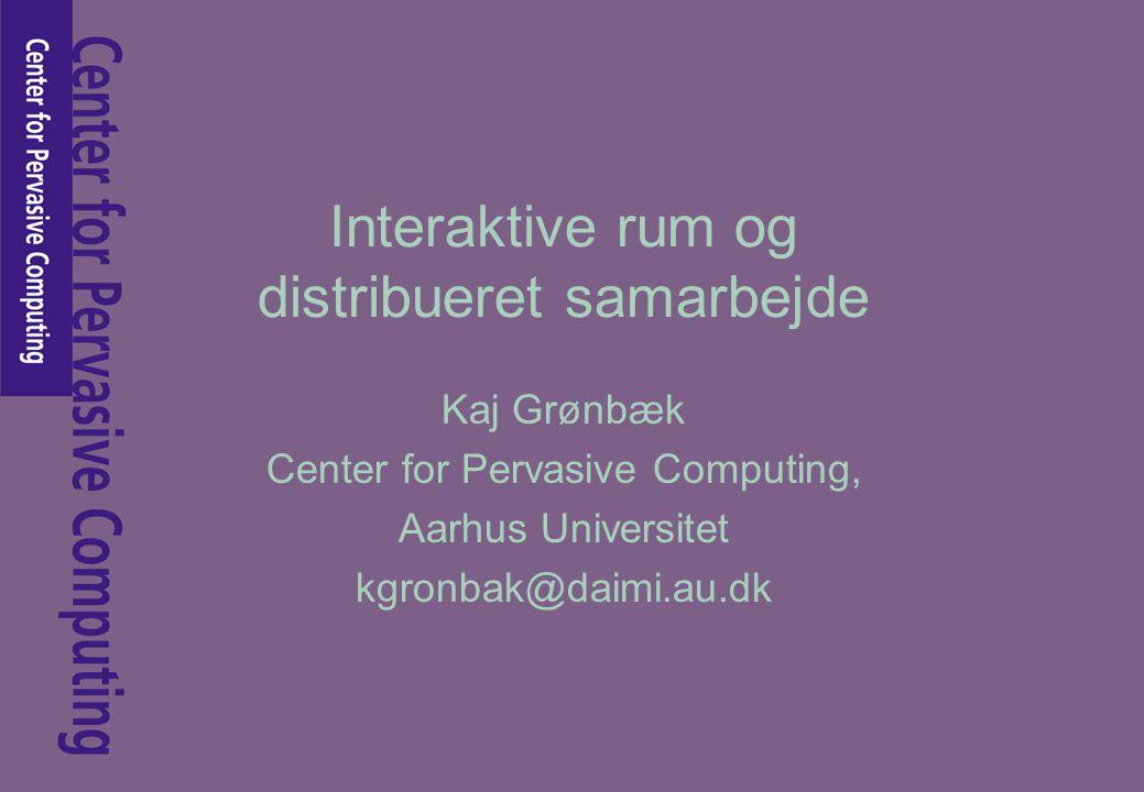 Interaktive rum og distribueret samarbejde Kaj Grønbæk Center for Pervasive Computing, Aarhus Universitet kgronbak@daimi.au.dk