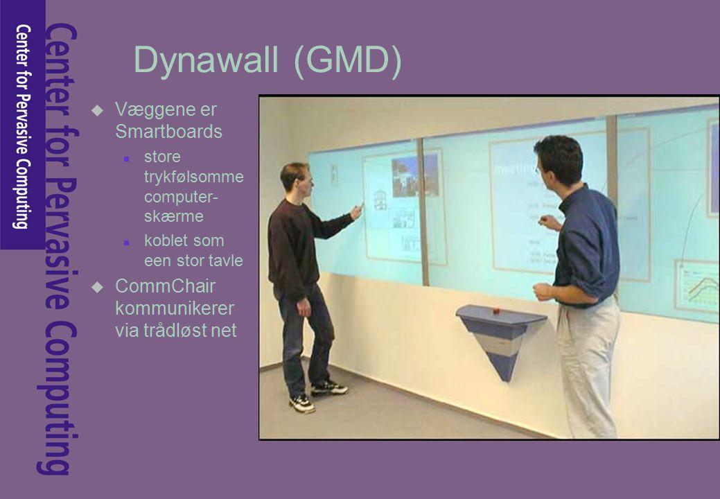 Dynawall (GMD) u Væggene er Smartboards n store trykfølsomme computer- skærme n koblet som een stor tavle u CommChair kommunikerer via trådløst net