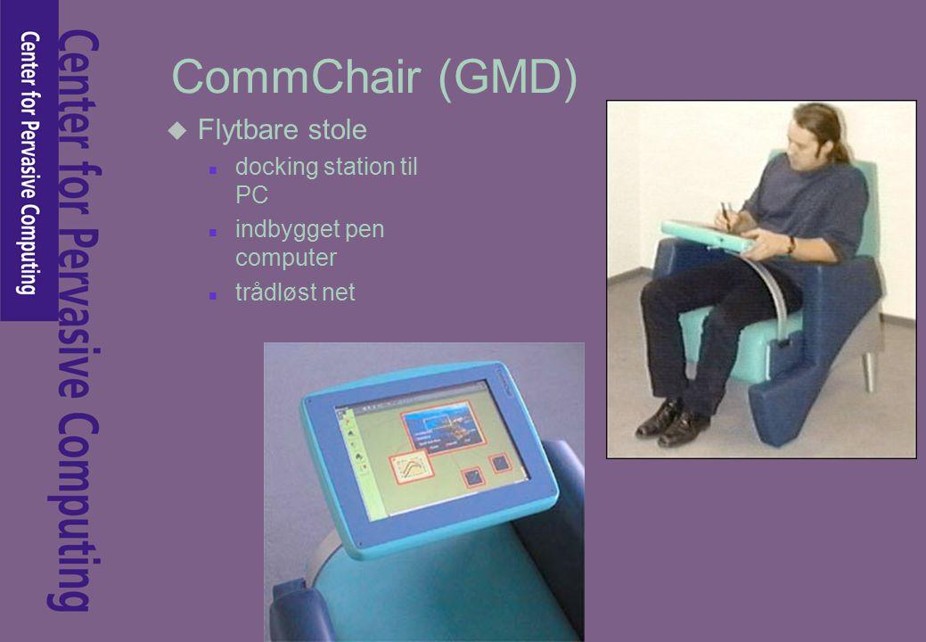 CommChair (GMD) u Flytbare stole n docking station til PC n indbygget pen computer n trådløst net