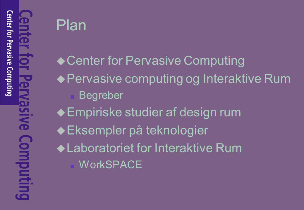 Plan u Center for Pervasive Computing u Pervasive computing og Interaktive Rum n Begreber u Empiriske studier af design rum u Eksempler på teknologier u Laboratoriet for Interaktive Rum n WorkSPACE