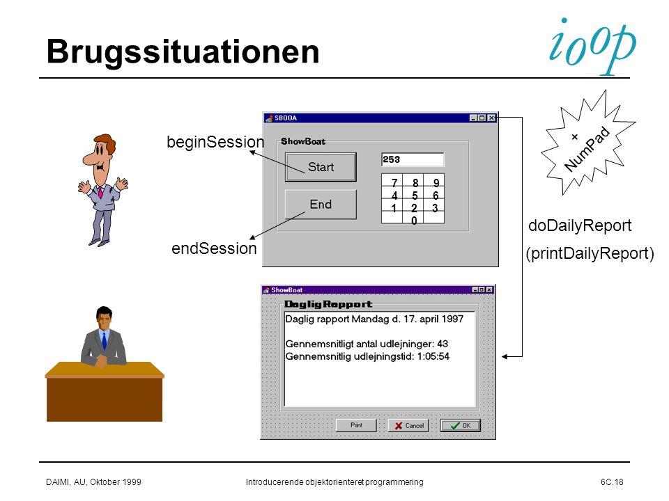 i o p o DAIMI, AU, Oktober 1999Introducerende objektorienteret programmering6C.18 Brugssituationen 123 456 789 0 doDailyReport endSession beginSession (printDailyReport) + NumPad