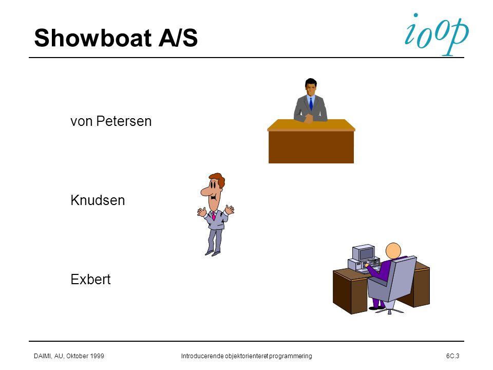 i o p o DAIMI, AU, Oktober 1999Introducerende objektorienteret programmering6C.3 Showboat A/S  von Petersen  Knudsen  Exbert