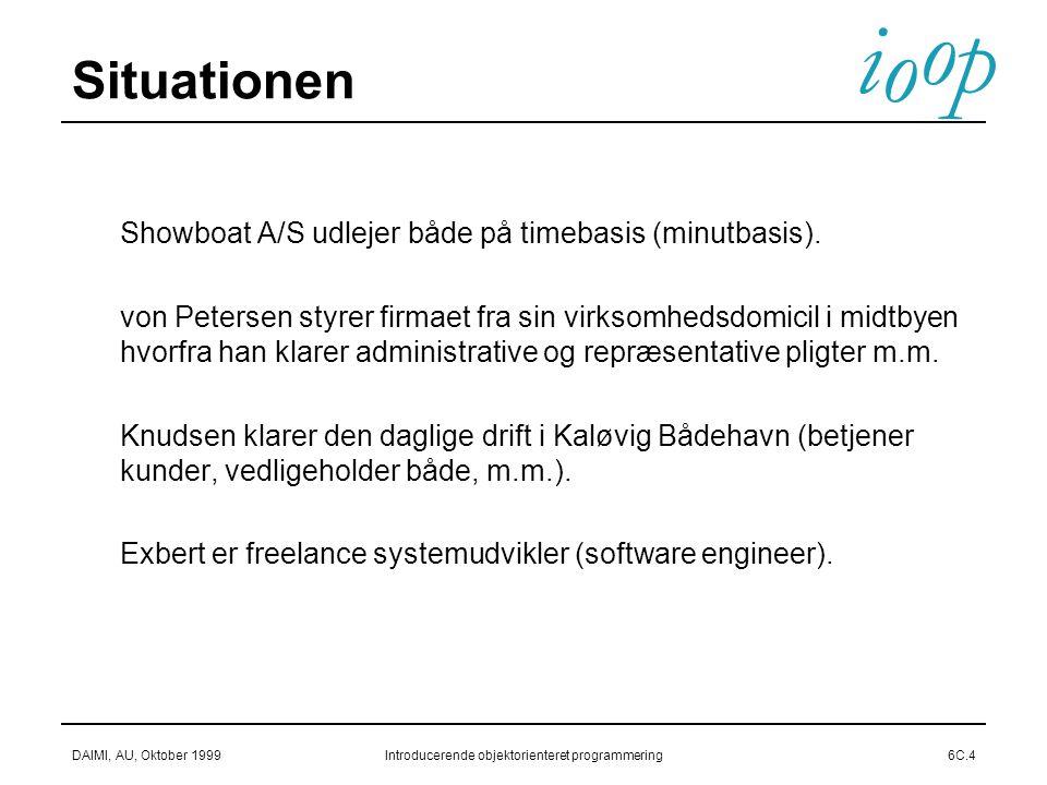 i o p o DAIMI, AU, Oktober 1999Introducerende objektorienteret programmering6C.4 Situationen  Showboat A/S udlejer både på timebasis (minutbasis).