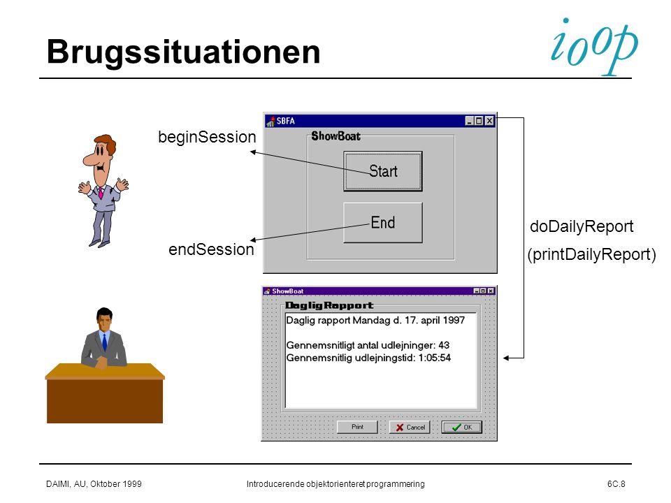 i o p o DAIMI, AU, Oktober 1999Introducerende objektorienteret programmering6C.8 Brugssituationen doDailyReport endSession beginSession (printDailyReport)