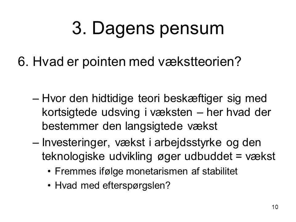10 3. Dagens pensum 6. Hvad er pointen med vækstteorien.