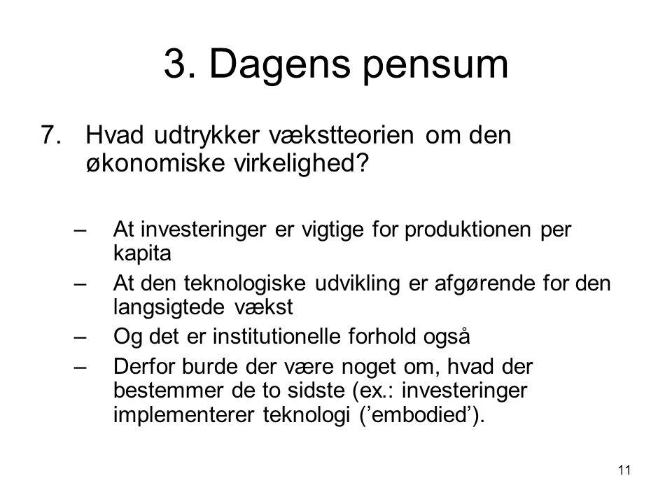 11 3. Dagens pensum 7.Hvad udtrykker vækstteorien om den økonomiske virkelighed.