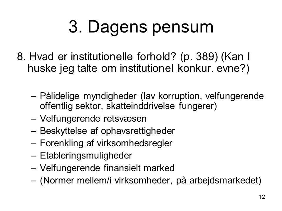 12 3. Dagens pensum 8. Hvad er institutionelle forhold.