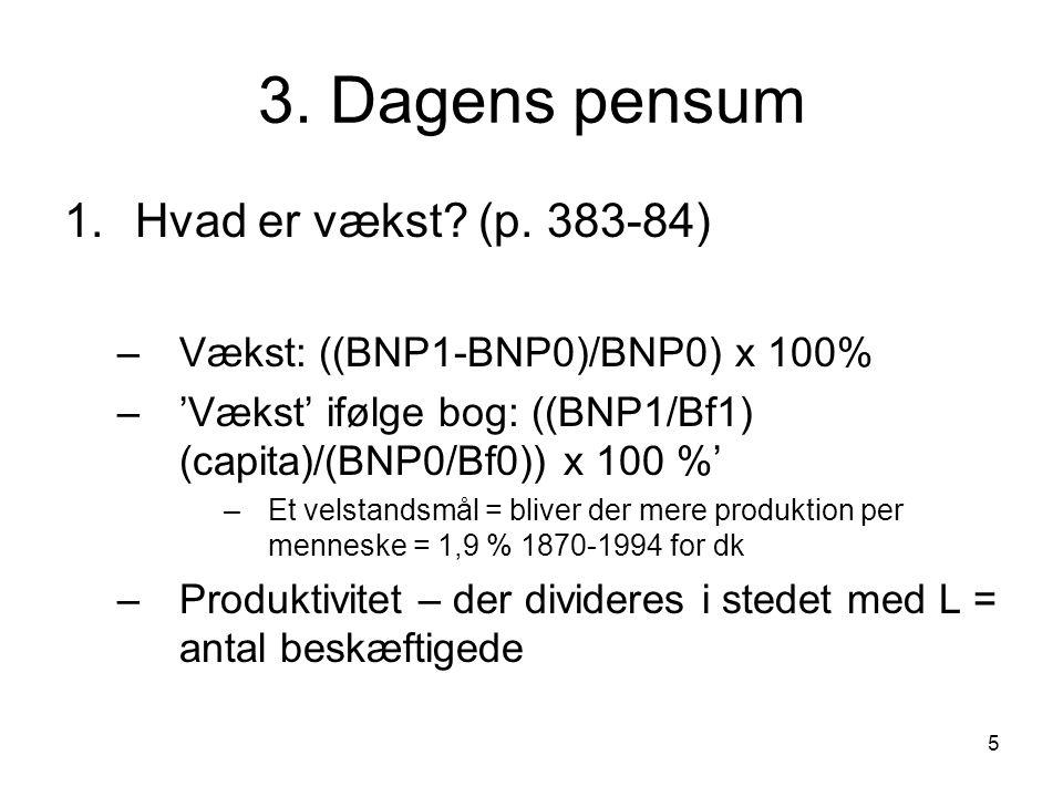 5 3. Dagens pensum 1.Hvad er vækst. (p.