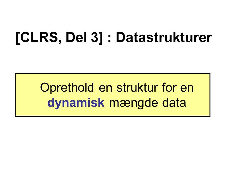 [CLRS, Del 3] : Datastrukturer Oprethold en struktur for en dynamisk mængde data