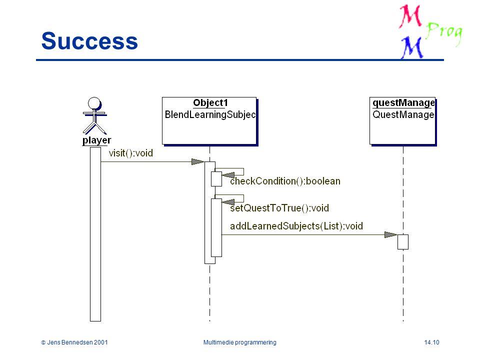  Jens Bennedsen 2001Multimedie programmering14.10 Success